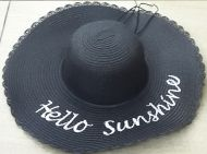 Straw Floppy Hat with Writing