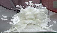 Feather Bowknot Formal White Hat