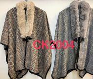 Fur Collar Check Poncho