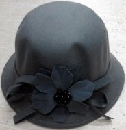 Grey Cloche Felt Hat