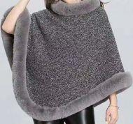 Maroon Woolen Poncho Coat