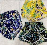 Leaf Printed Cotton Shorts