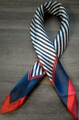 Navy Blue Silk Stripe Scarf