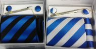 Striped Tie and Cufflinks
