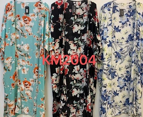 Womens Viscose Floral Kimono Gown