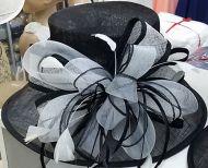 White Black Bowknot Sinamay Hat